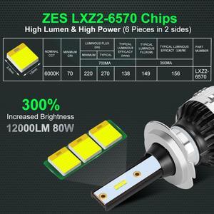 Image 3 - 2Pcs H4 H7 Led H1 H11 H8 H3 HB4 HB3 H27 Led עם ZES שבבי Canbus רכב פנס נורות 80W 12000LM אוטומטי מנורת מכוניות