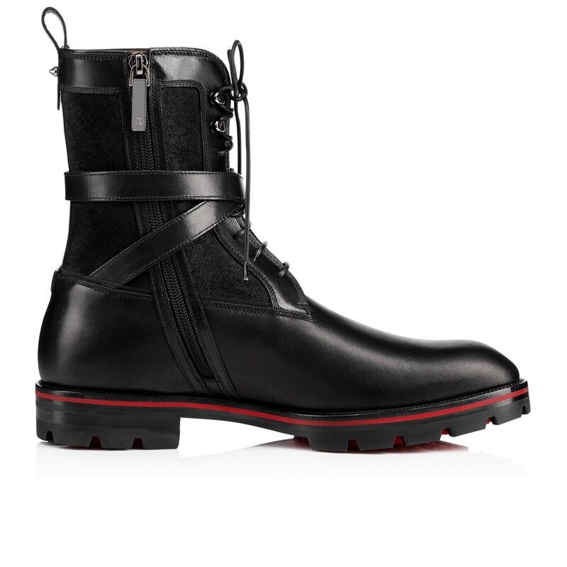 Мужские повседневные сапоги из черной замши и кожи в стиле пэчворк; мужские ботильоны на шнуровке; модная обувь с перекрестными ремешками; ботинки на низком каблуке с боковой молнией - 3