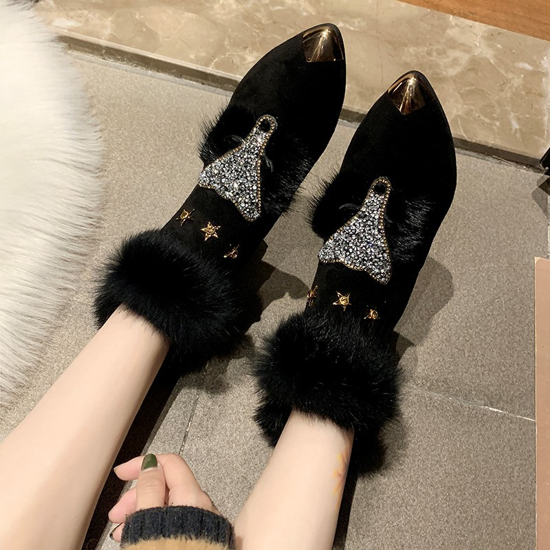 W- Thick and fashion trend new short boots warm daily non-slip increase height winter comfortable personality snow boots women 28