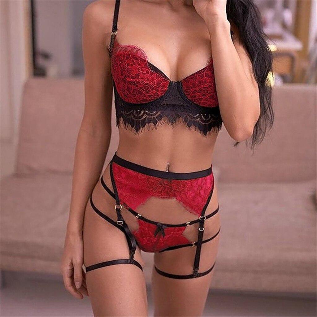 Fashion Sexy Women Bra Set 3Pcs Lace Sexy Lingerie Straps Bra Panty Garter G-string Set Ladies Underwear Babydoll Lingerie Porno