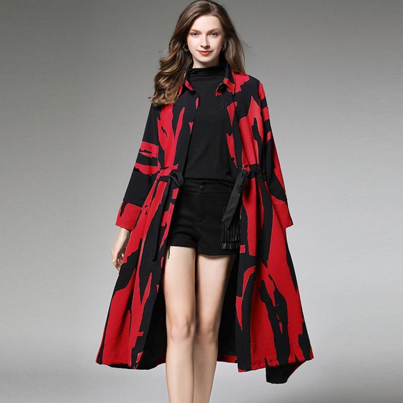 LANMREM 2019 New Fashion Autumn Pattern Long Slim Print Leisure Style Full Sleeve Large Size Women's   Trench   Caot AI981