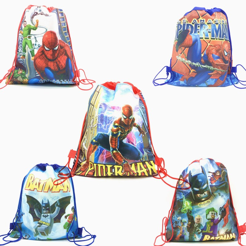 1pcs Spider-man/Batman Drawstring Bags Cartoon Design Drawstring Bags Kids Boy Favor Spiderman Bags Spider Man Party Decoration