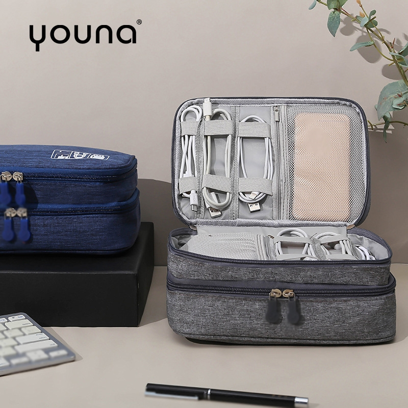 Electronics Organizer Cable Storage Tidy Bag Double Layer for Cables Digital Packet for Electronic Accessories Travel bag