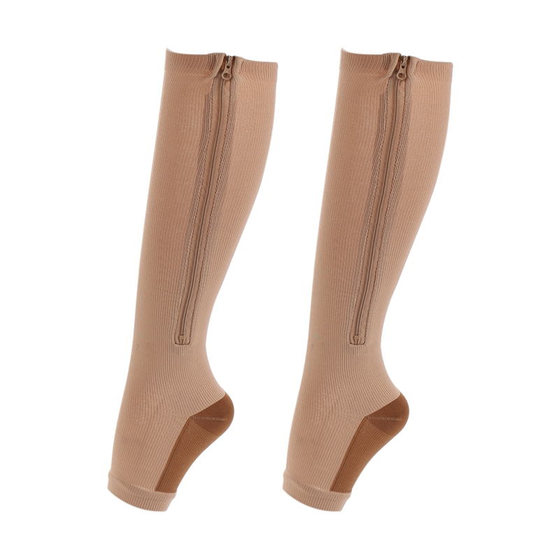 1 Pairs Women Zipper Medical Compression Socks Zip Leg Stretchy Compression Support Knee Sox Socks Open Toe Anti-Fatigue