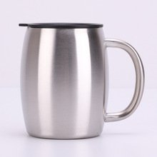 Double stainless steel beer mug 14oz coffee cup handle bucket Stainless