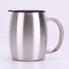 Double stainless steel beer mug 14oz coffee cup handle bucket Stainless