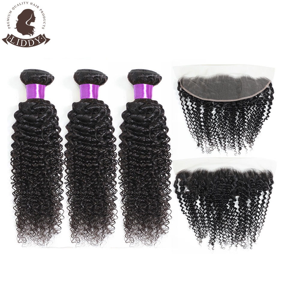 Liddy Curly Bundles With Frontal 3 Bundles Brazilian Human Hair Bundles With Lace Frontal 13x4 Free Part Non Remy Hair