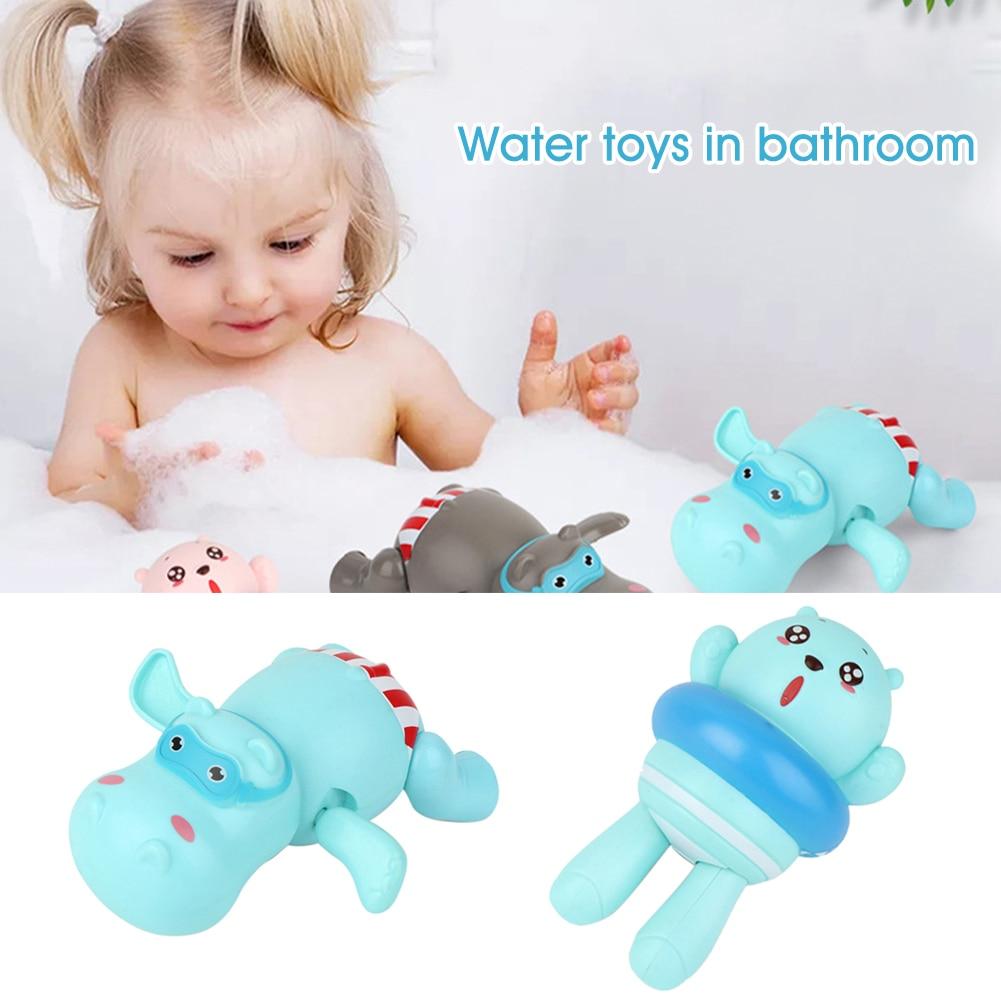Pool Clockwork Swimming Hippopotamus Bear Boys Girls Colorful Cartoon Animal Shower Baby Basin Kids Bath Toy Floating ABS