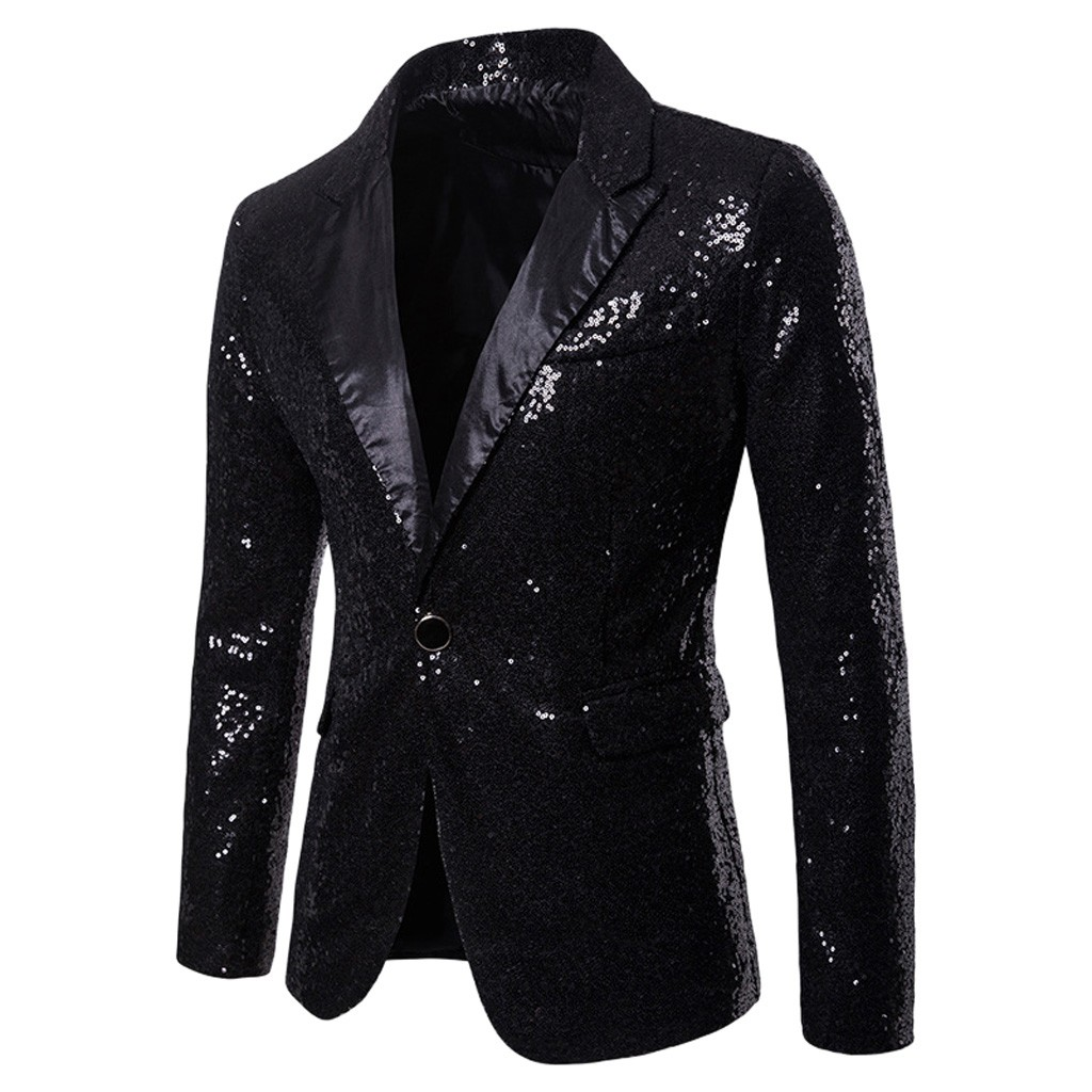Sequin Blazer Men Suit Jacket Slim Fit Costume Homme Party Show Single Button  Suit Blazer Man D90726