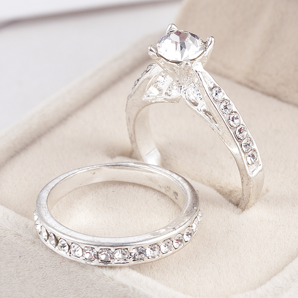 2Pcs/set Charm Lovers Ring Bijoux Femme Fashion Jewelry Bijoux Crystal Engagement Wedding Rings For Women Men Anel 5