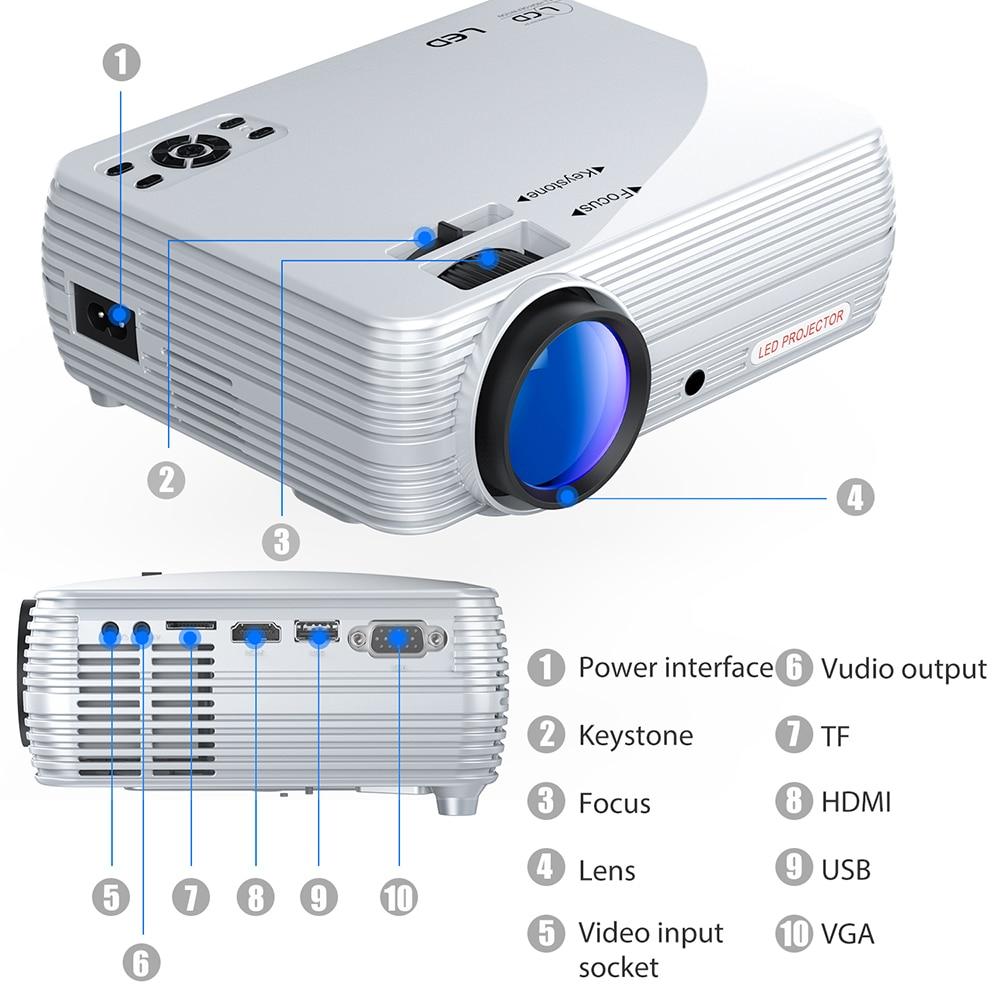 Potente Mini Proiettore X5 + 1280*720P 2600L 1080 P Hd di Sostegno Portatile Beamer Compatibile con Tv Stick, PS4, Hdmi, Vga, E Usb - 4