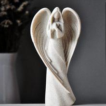 Estilo europeu resina anjo da guarda figura, escultura ornamentos artesanato, retro gabinete decoração de mesa artesanato casa