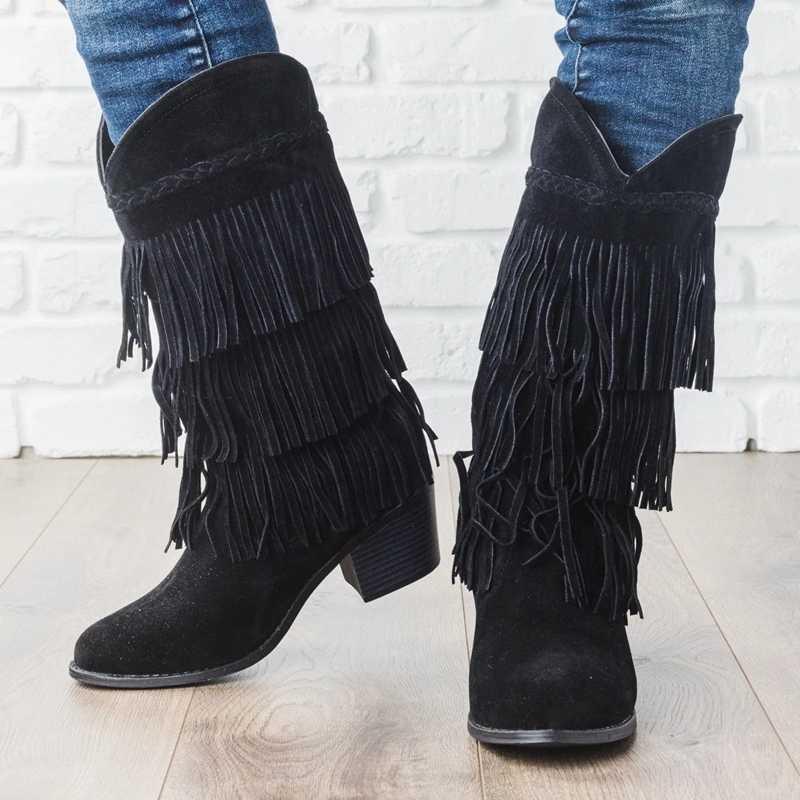 Adisputent Bohemian Boho topuk çizme etnik kadınlar püskül saçak akın Faux süet deri yarım çizmeler kadın kız düz ayakkabı patik