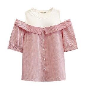 Женская летняя футболка, женские футболки, женские полосатые топы с коротким рукавом, модные топы размера плюс с открытыми плечами, обманны...
