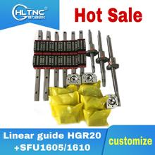 CNC 라우터 3 축 4 축 CNC 가이드 20mm 리니어 스퀘어 레일 리니어 가이드 HGR20 + HGH20CA/HGW20CC + 16mm 볼 스크류 SFU1605/1610 키트