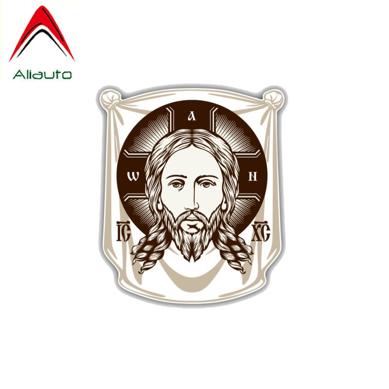 Aliauto Personality Custom Car Sticker Face of Jesus Orthodox Church Icon Religion PVC Sunscreen Decal Decoration,11cm*13cm image