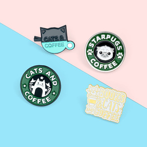 'Starpugs' Coffee Enamel Lapel Pins Cartoon Cat Dog Brooches Badges Fashion Backpack Pin Gifts for Friends Wholesale Jewelry