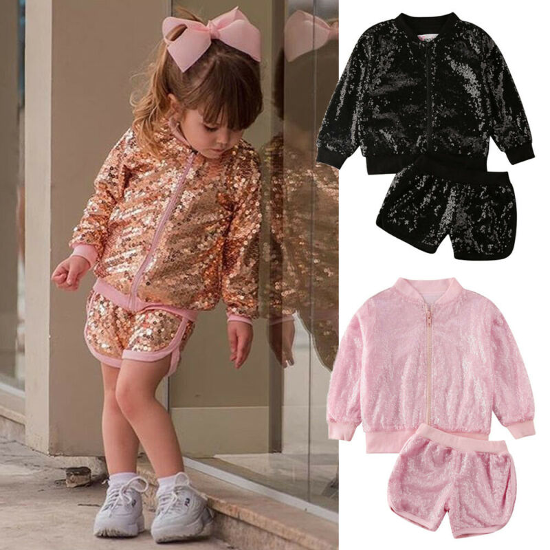 Sparkle Glitter Clothes For Girls Casual Toddler Kids Baby Girl Long Sleeve Zipper Tops Jacket Coat+Shorts Pants 2Pcs Outfits