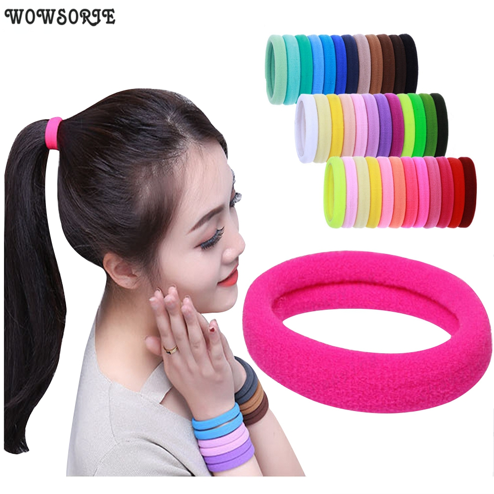 4.3cm Women Ponytail Holder Rubber Band Scrunchie Headband Girl Yoga Hair Tie Nylon Elastic Hair Band Hair Accessories 30pcs/Lot