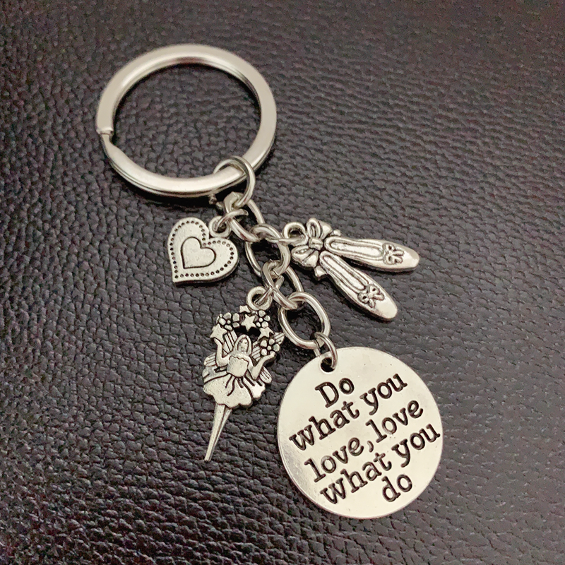1pcs Do What You Love Charms I Love To Dance Key Chain Ballerina Keyring Ballet Gifts For Women Girl Dancer Jewelry(China)