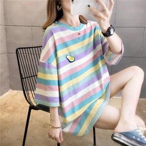 Женская свободная футболка в полоску, длинная уличная футболка в Корейском стиле с коротким рукавом, большие размеры