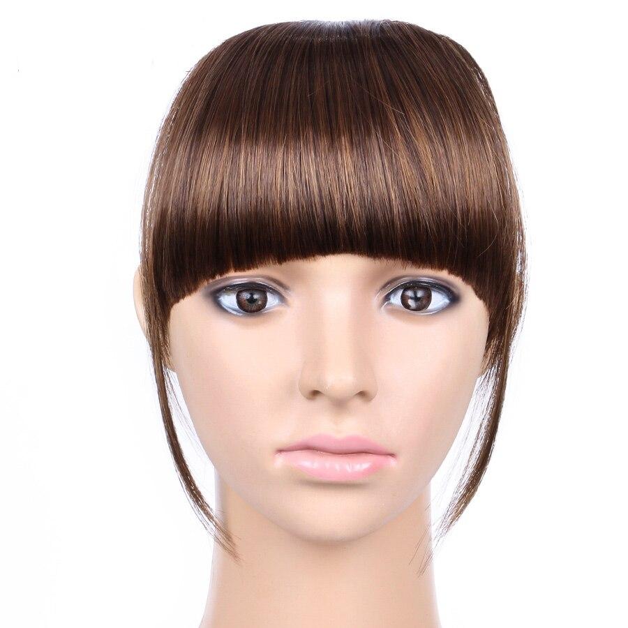 AliLeader 2PCS Short Front Neat Bangs Synthetic High Temperature Fiber Straight Fringe Hair Extensions In Clip Bang False Hair