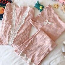 Fdfklak otoño lactancia pijamas trajes 3 unids/set de maternidad de enfermería ropa de dormir rosa/azul pijamas para mujeres embarazadas