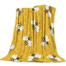 Couverture de lit polaire en flanelle, nid d'abeille, insectes mignons, animaux de dessin animé, couvre-lit, doux, léger, chaud et confortable