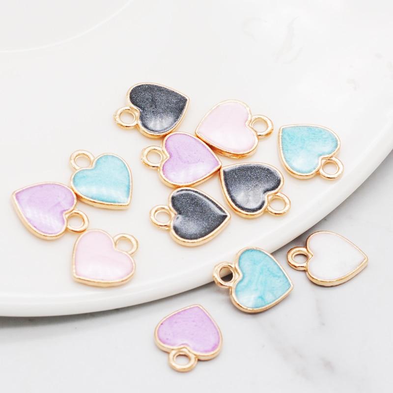30pcs/Lot New Earrings DIY Accessories Cartoon Lovely Heart Simple Pendant Earrings Material Enamel Charm 10*12mm 1