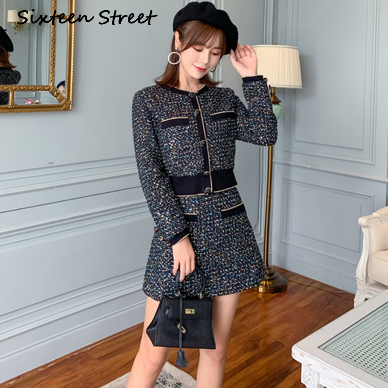 Woman's Skirt Suit Wool Blends 2 Piece Sets Bling Line Single-breasted Jacket + High Waist Skirt Female Elegant Party Clothing