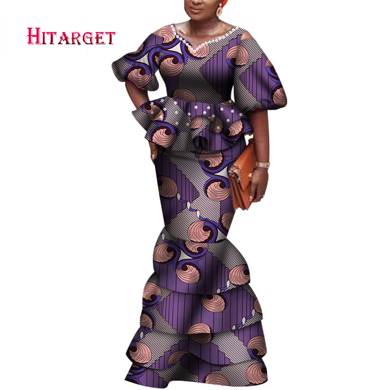 2020 New Design African Dashiki For Women V-neck Skirt Set Natural Bazin Riche African Fashion Clothing Cotton Plus Size WY6117