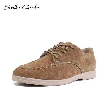 Sourire cercle daim cuir femmes mocassins chaussures plates automne dames chaussures bretelles croisées cool marée couleur grande taille 36-41 2