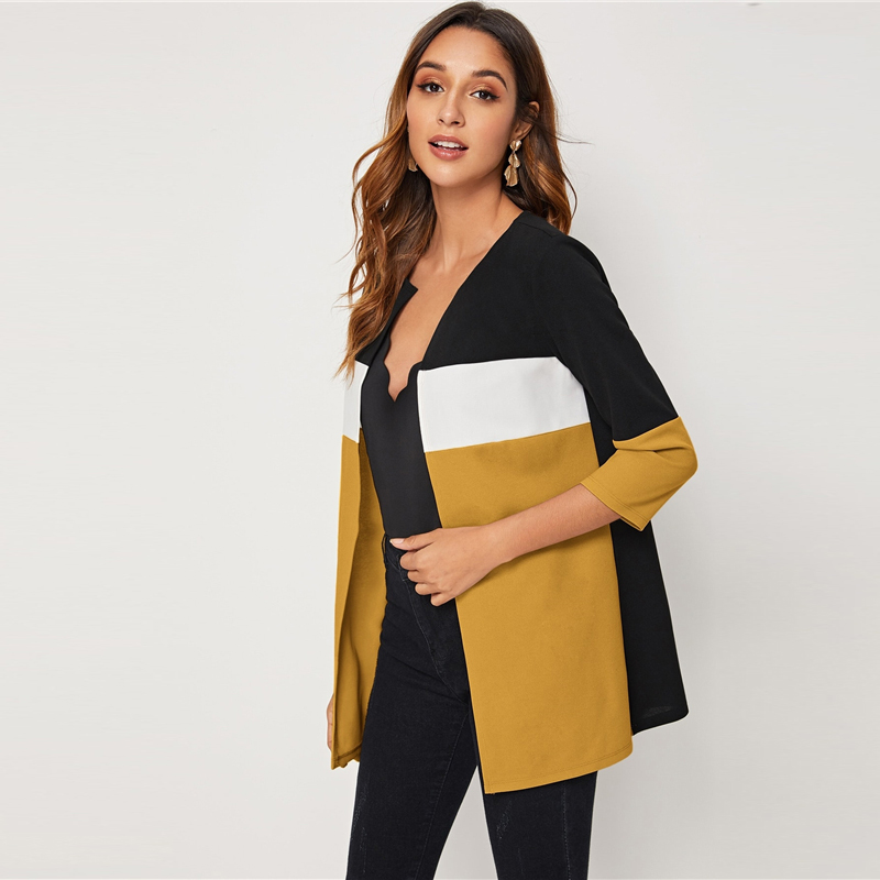 H3c28751d219141a1b93d0219797189547 SHEIN Colorblock Round Neck Cut And Sew Open Front Basic Coat Women 2019 Autumn 3/4 Length Sleeve Ladies Casual Outwear Coats