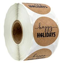 Счастливых праздников наклейка с лапой печать милый Scarpbooking на Рождество канцелярские студент поставки 500 наклейки этикетки