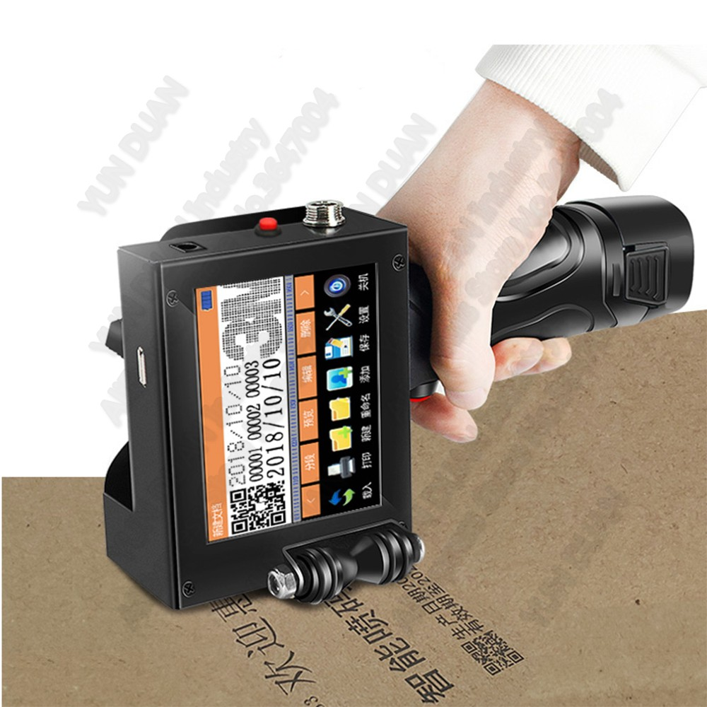 Handheld Touch Screen Inkjet Printer Laser Coder Label Print Machine 600DPI 12.7mm USB QR Code QR Bar Code Production Date Logo