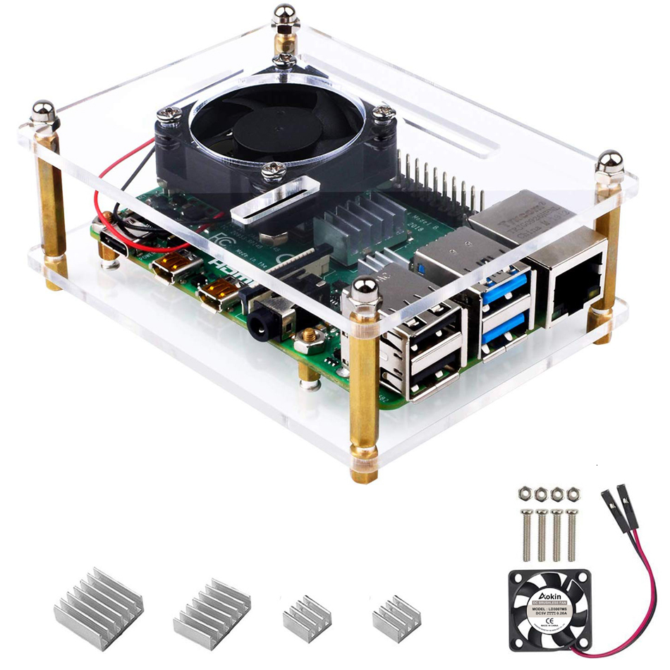 Case For Raspberry Pi 4 B, Case With Cooling Fan Heatsinks For Raspberry Pi 4 Model B Pi 3 B+/ 3B/ 2B