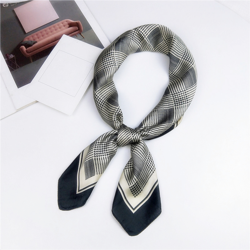 AOMU Women Small Satin Silk Scarf Square Foulard Elegant Female Wrap Handkerchief Bandana Neck Hair Skinny Tie Scarfs Shawls