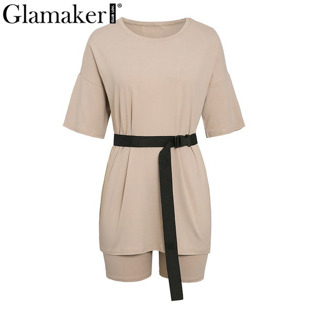 Glamaker Summer casual two piece set top and pants women sets short sleeve fashion loose outfits shorts suit 2020 female co ord 5