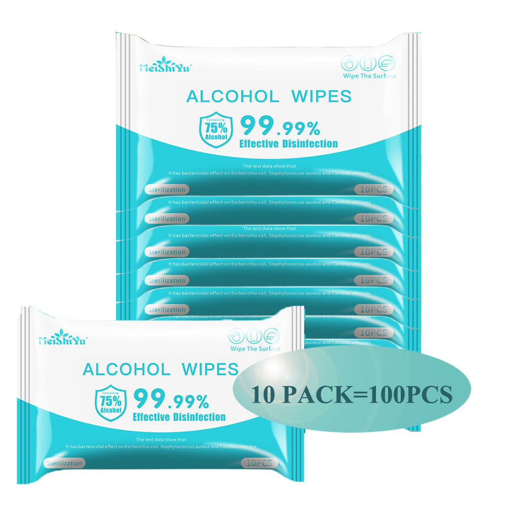 10 Bags=100PCS Portable Disinfection Antiseptic Pads Alcohol Swabs Wet Wipes Skin Cleansing Care Sterilization First Aid Tissue
