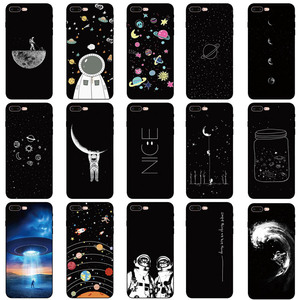 Black With White Moon Stars Space Astronaut Soft silicone Phone Cover Case For iPhone 5 5S SE 6 6S 7 8 Plus X XR XS Max(China)