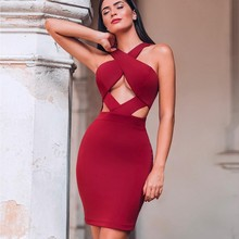 Deer Dame Promi Bandage Kleider Für Frauen 2019 Winter Cut Out Sexy Bandage Kleider Club Hohl Vestidos Runway Bodycon Mini(China)
