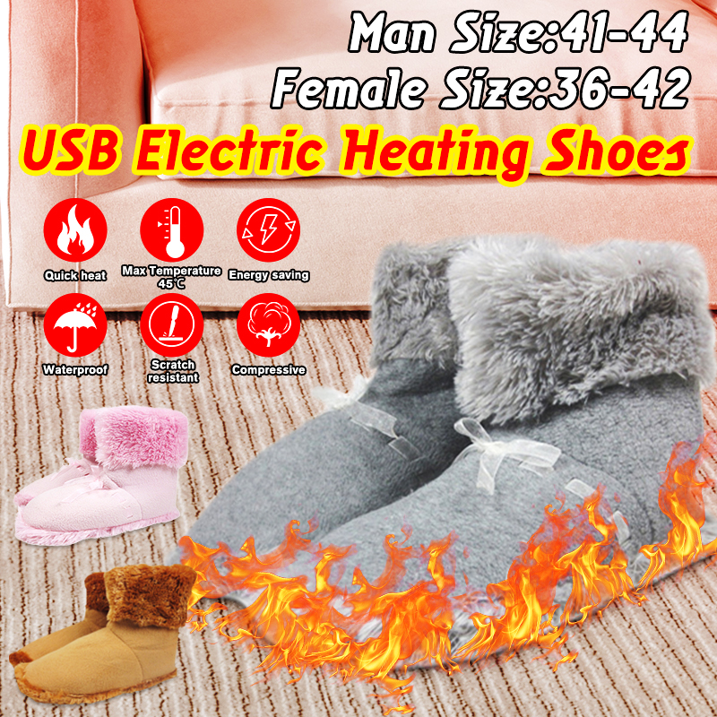 Winter Soft USB Heated Electric Warm Foot Warmer Washable Electric Heat Slipper Warmer Cushion Foot Warmer Shoes Skiing Boot