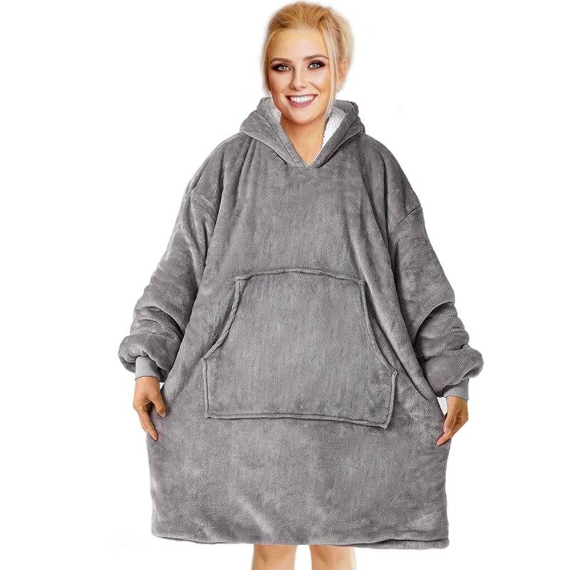 Oversize Hoodie Sofa Warm TV Blankets with Pocket Outdoor Hiking Hooded Sweatshirt Blanket-0