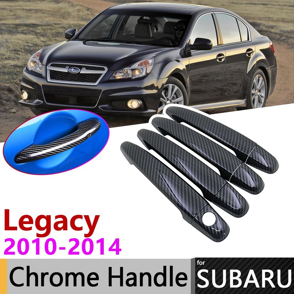 Black Carbon Fiber Door Handle Cover For Subaru Legacy BM BR 2010~2014 2011 2012 2013 Car Accessories Stickers Trim Set Chrome