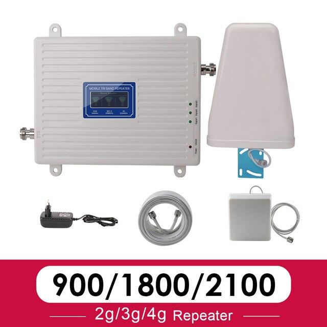 2G 3G 4G Tri Band Booster Amplifier GSM 900 4G LTE 1800 B3 3G WCDMA 2100 B1 โทรศัพท์มือถือสัญญาณRepeater