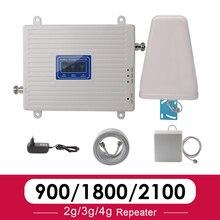 2G 3G 4G Tri Band cep sinyal güçlendirici amplifikatör GSM 900 4G LTE 1800 B3 3G WCDMA 2100 B1 cep telefonu sinyal amplifikatörü tekrarlayıcı