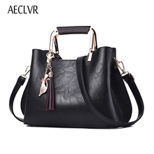 AECLVR High Quality Women Leather Handbags Vintage Tassel Women Sequined Shoulder Bags Solid Casual Tote Bag Messenger Bag Bolsa