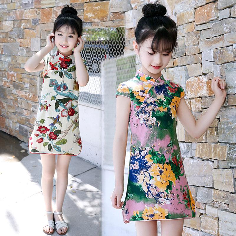 Baby Girl Dress Girls' Improved Cheongsam Summer 2020 Graceful Cheongsam Cotton Linen Child Girls Clothes Chinese Style Qipao