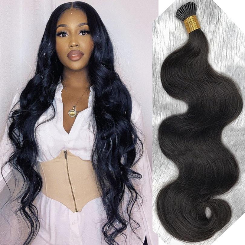 Onda do corpo eu ponta extensões de cabelo microlinks cabelo virgem brasileiro queratina 100% cabelo humano cor preta para mulheres 1 g/s 100 strand