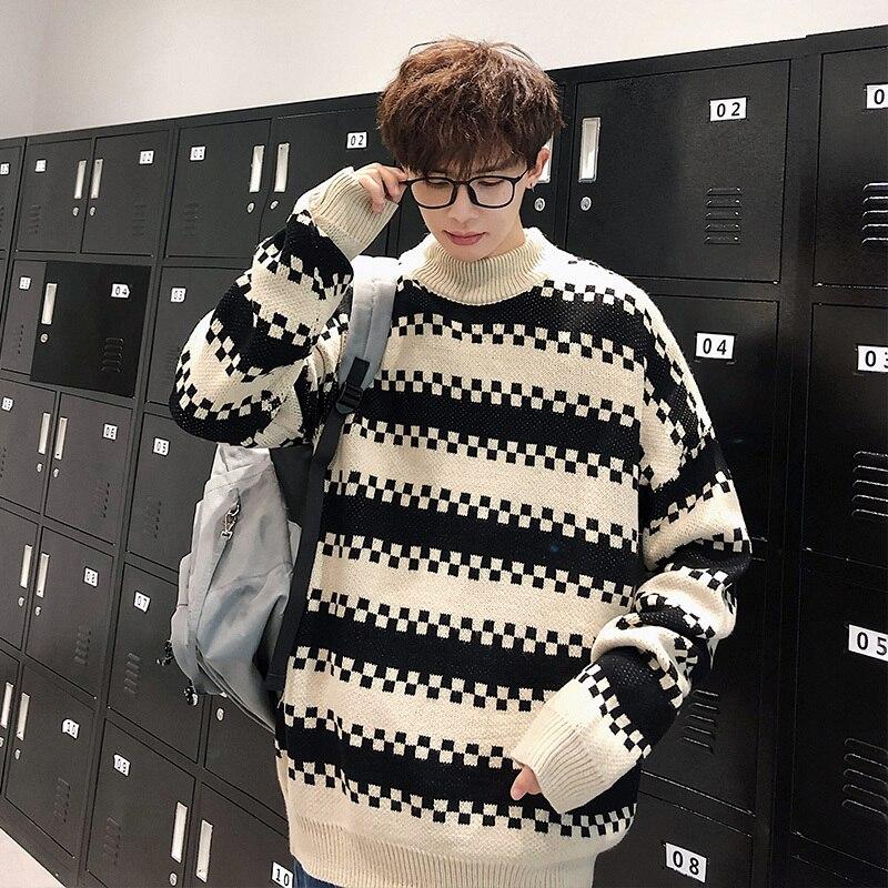 2019 UYUK Autumn Winter Men's Turtleneck Sweater Male Contrast Color Stripe Temperament Loose Trend Homme  Clothes